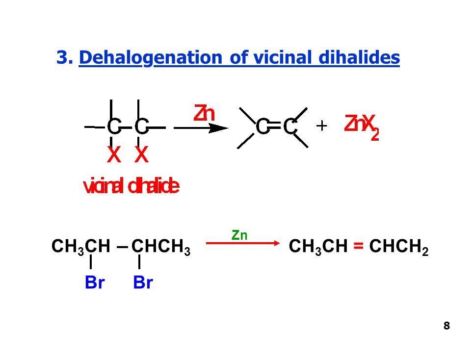 3. Dehalogenation of vicinal dihalides 8 CH 3 CH CHCH 3 Br CH 3 CH = CHCH 2 Zn