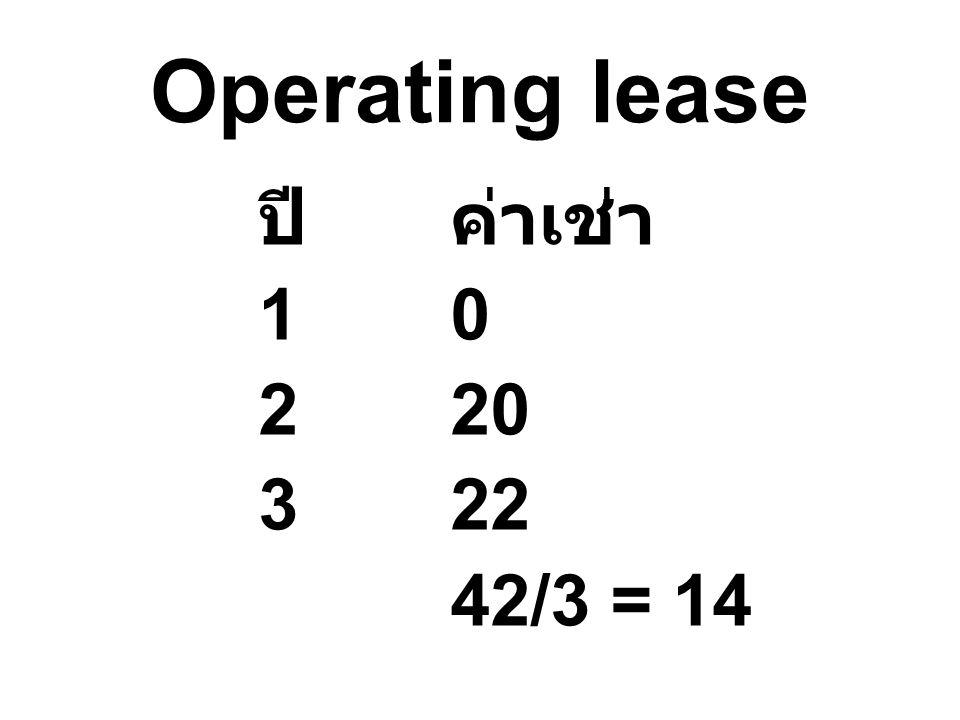 Operating lease ปีค่าเช่า 10 220 322 42/3 = 14