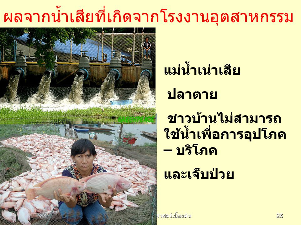 EC961 วิชาเศรษฐศาสตร์เบื้องต้น 26 ผลจากน้ำเสียที่เกิดจากโรงงานอุตสาหกรรม แม่น้ำเน่าเสีย ปลาตาย ชาวบ้านไม่สามารถ ใช้น้ำเพื่อการอุปโภค – บริโภค และเจ็บป