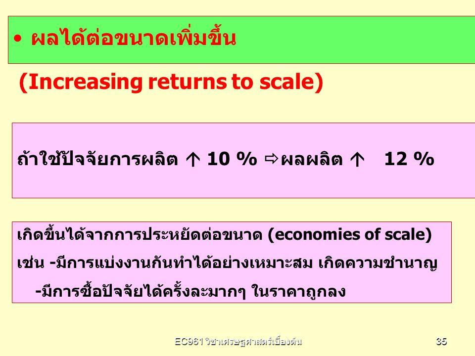 EC961 วิชาเศรษฐศาสตร์เบื้องต้น 3535 ผลได้ต่อขนาดเพิ่มขึ้น (Increasing returns to scale) เกิดขึ้นได้จากการประหยัดต่อขนาด (economies of scale) เช่น -มีก