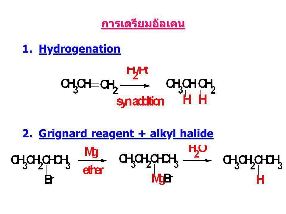 การเตรียมอัลเคน 1.Hydrogenation 2.Grignard reagent + alkyl halide