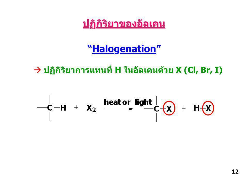 ปฏิกิริยาของอัลเคน Halogenation  ปฏิกิริยาการแทนที่ H ในอัลเคนด้วย X (Cl, Br, I) 12
