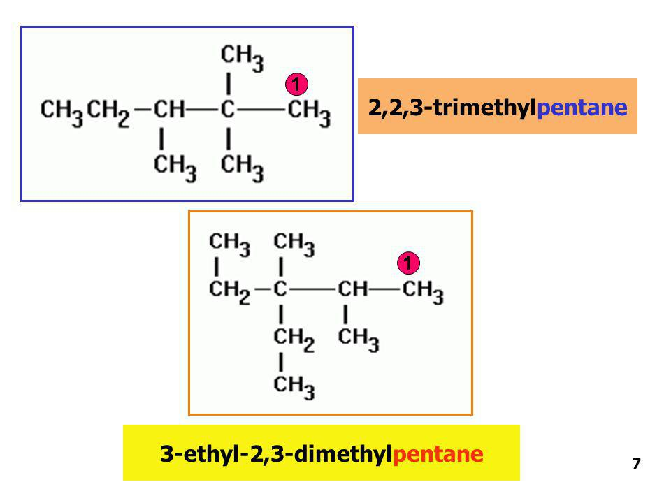 2,2,3-trimethylpentane 3-ethyl-2,3-dimethylpentane 1 1 7