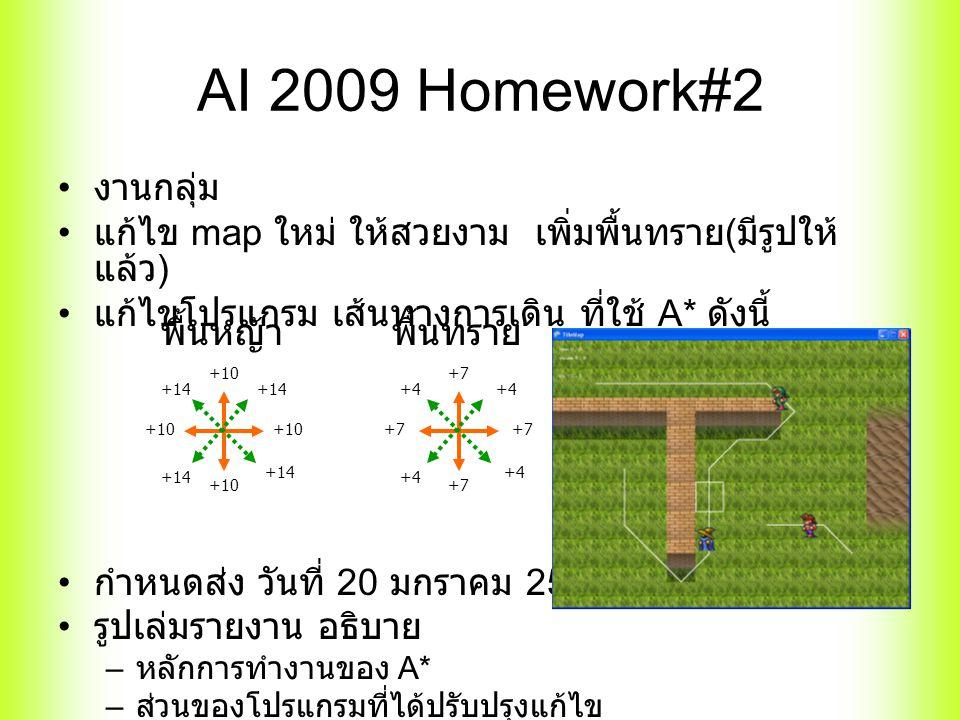 AI 2009 Homework#2 งานกลุ่ม แก้ไข map ใหม่ ให้สวยงาม เพิ่มพื้นทราย ( มีรูปให้ แล้ว ) แก้ไขโปรแกรม เส้นทางการเดิน ที่ใช้ A* ดังนี้ กำหนดส่ง วันที่ 20 มกราคม 2553 รูปเล่มรายงาน อธิบาย – หลักการทำงานของ A* – ส่วนของโปรแกรมที่ได้ปรับปรุงแก้ไข +10 +14 พื้นหญ้าพื้นทราย +7 +4