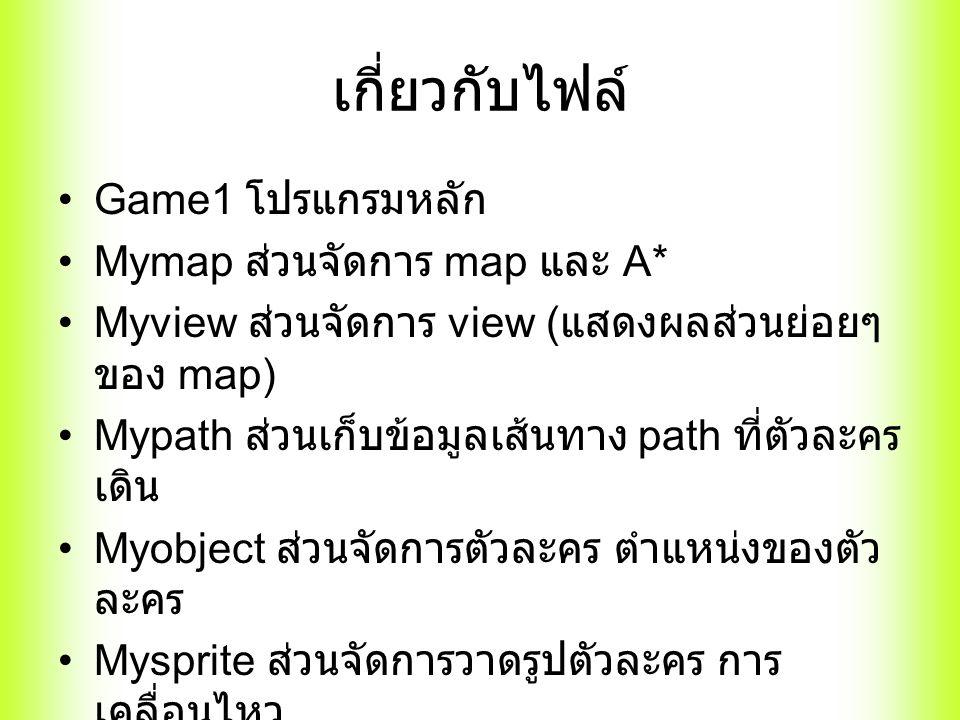 เกี่ยวกับไฟล์ Game1 โปรแกรมหลัก Mymap ส่วนจัดการ map และ A* Myview ส่วนจัดการ view ( แสดงผลส่วนย่อยๆ ของ map) Mypath ส่วนเก็บข้อมูลเส้นทาง path ที่ตัวละคร เดิน Myobject ส่วนจัดการตัวละคร ตำแหน่งของตัว ละคร Mysprite ส่วนจัดการวาดรูปตัวละคร การ เคลื่อนไหว Myutils ฟังก์ชั่นย่อยๆ ต่างๆ