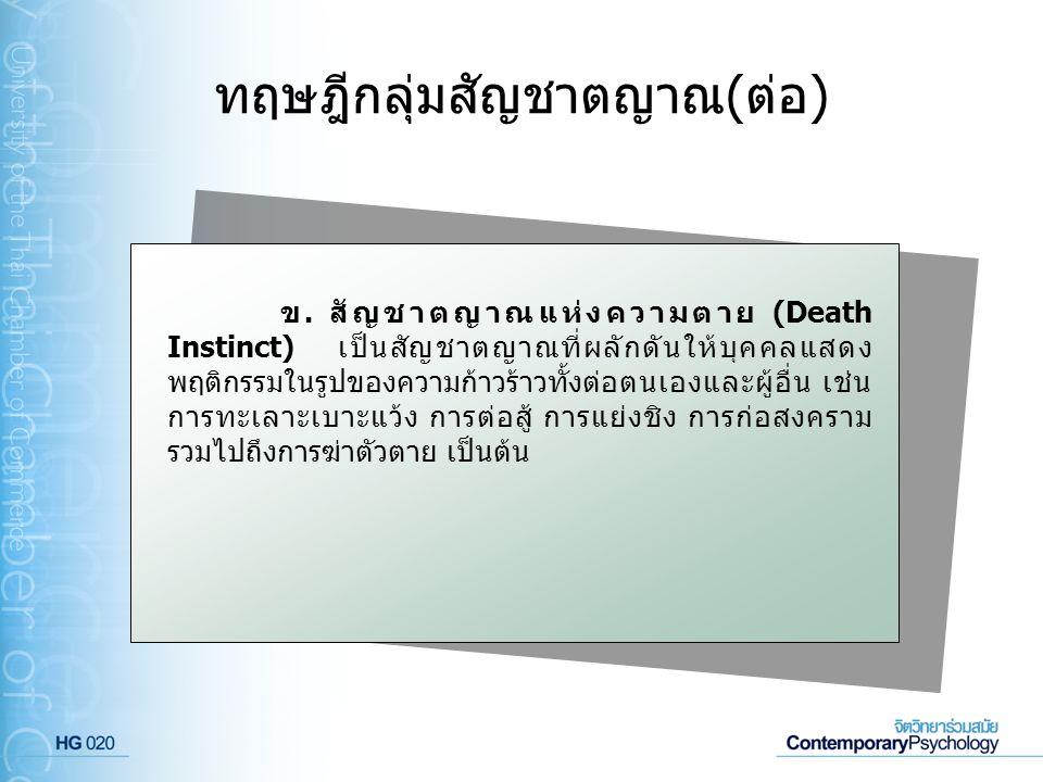 ทฤษฎีกลุ่มสัญชาตญาณ(ต่อ) ข. สัญชาตญาณแห่งความตาย (Death Instinct) เป็นสัญชาตญาณที่ผลักดันให้บุคคลแสดง พฤติกรรมในรูปของความก้าวร้าวทั้งต่อตนเองและผู้อื