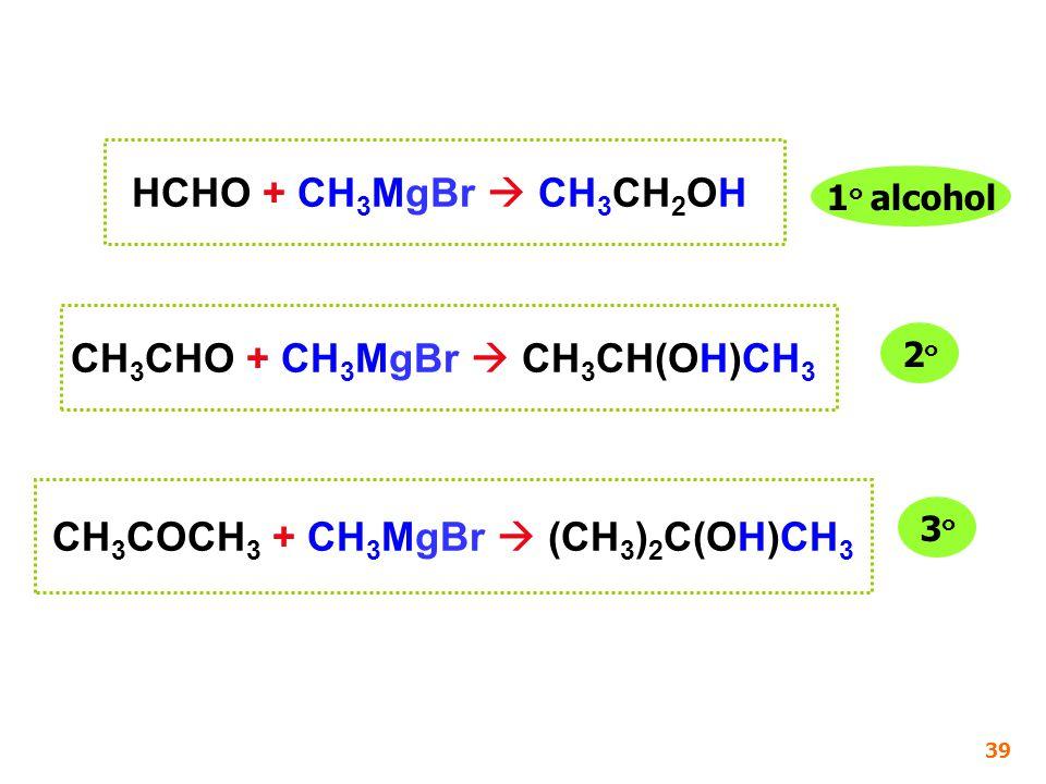 CH 3 COCH 3 + CH 3 MgBr  (CH 3 ) 2 C(OH)CH 3 HCHO + CH 3 MgBr  CH 3 CH 2 OH CH 3 CHO + CH 3 MgBr  CH 3 CH(OH)CH 3 1 ๐ alcohol 2๐2๐ 3๐3๐ 39