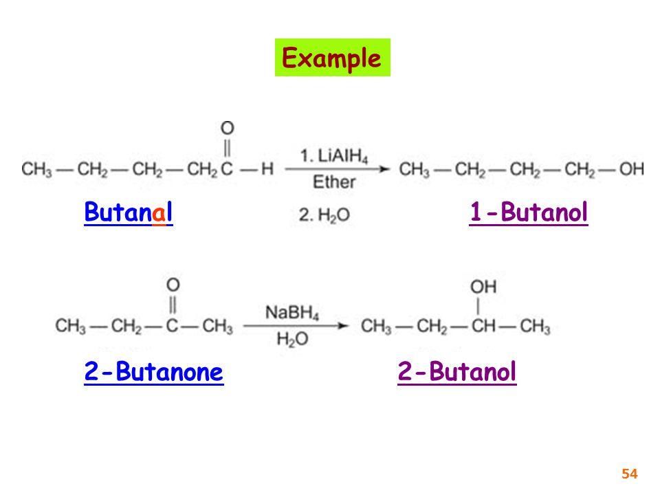 Butanal1-Butanol 2-Butanone2-Butanol Example 54