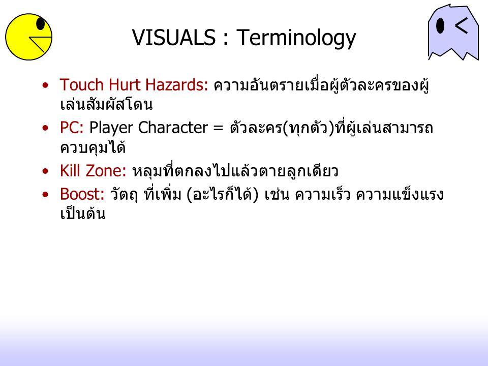 VISUALS : Terminology Touch Hurt Hazards: ความอันตรายเมื่อผู้ตัวละครของผู้ เล่นสัมผัสโดน PC: Player Character = ตัวละคร(ทุกตัว)ที่ผู้เล่นสามารถ ควบคุมได้ Kill Zone: หลุมที่ตกลงไปแล้วตายลูกเดียว Boost: วัตถุ ที่เพิ่ม (อะไรก็ได้) เช่น ความเร็ว ความแข็งแรง เป็นต้น