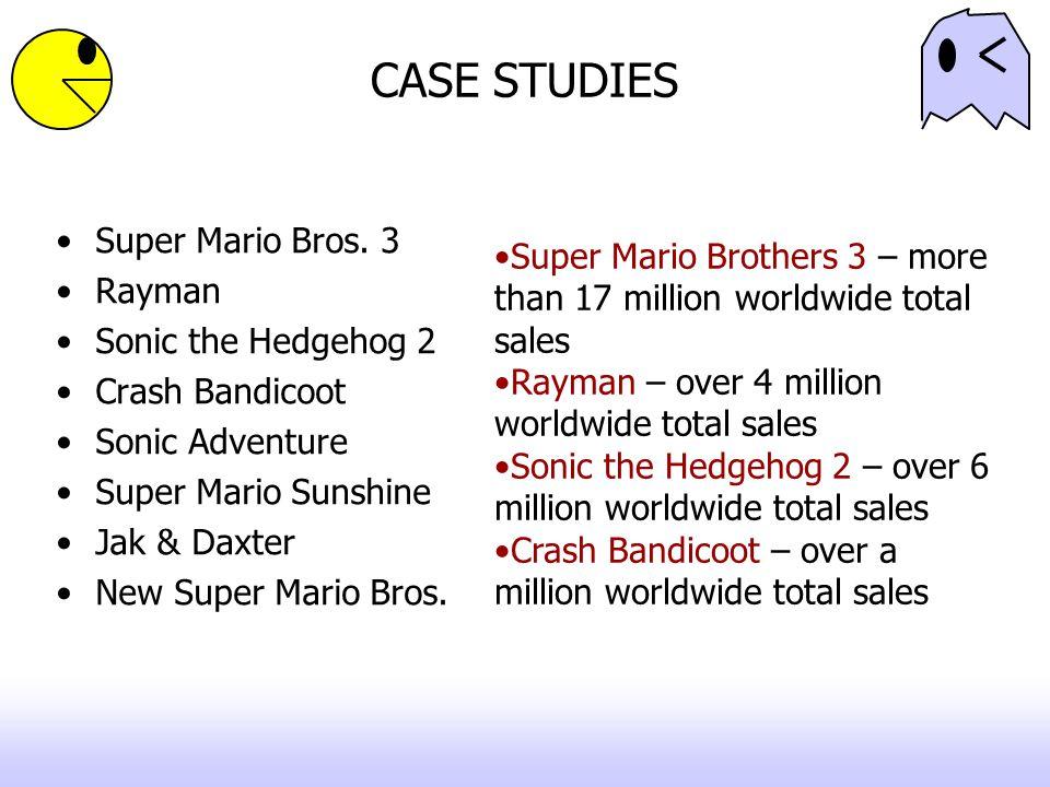 CASE STUDIES Super Mario Bros. 3 Rayman Sonic the Hedgehog 2 Crash Bandicoot Sonic Adventure Super Mario Sunshine Jak & Daxter New Super Mario Bros. S