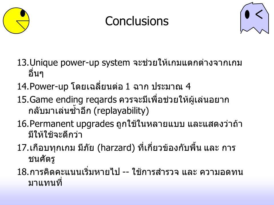 Conclusions 13.Unique power-up system จะช่วยให้เกมแตกต่างจากเกม อื่นๆ 14.Power-up โดยเฉลี่ยนต่อ 1 ฉาก ประมาณ 4 15.Game ending reqards ควรจะมีเพื่อช่วยให้ผู้เล่นอยาก กลับมาเล่นซ้ำอีก (replayability) 16.Permanent upgrades ถูกใช้ในหลายแบบ และแสดงว่าถ้า มีให้ใช้จะดีกว่า 17.เกือบทุกเกม มีภัย (harzard) ที่เกี่ยวข้องกับพื้น และ การ ชนศัตรู 18.การคิดคะแนนเริ่มหายไป -- ใช้การสำรวจ และ ความอดทน มาแทนที่