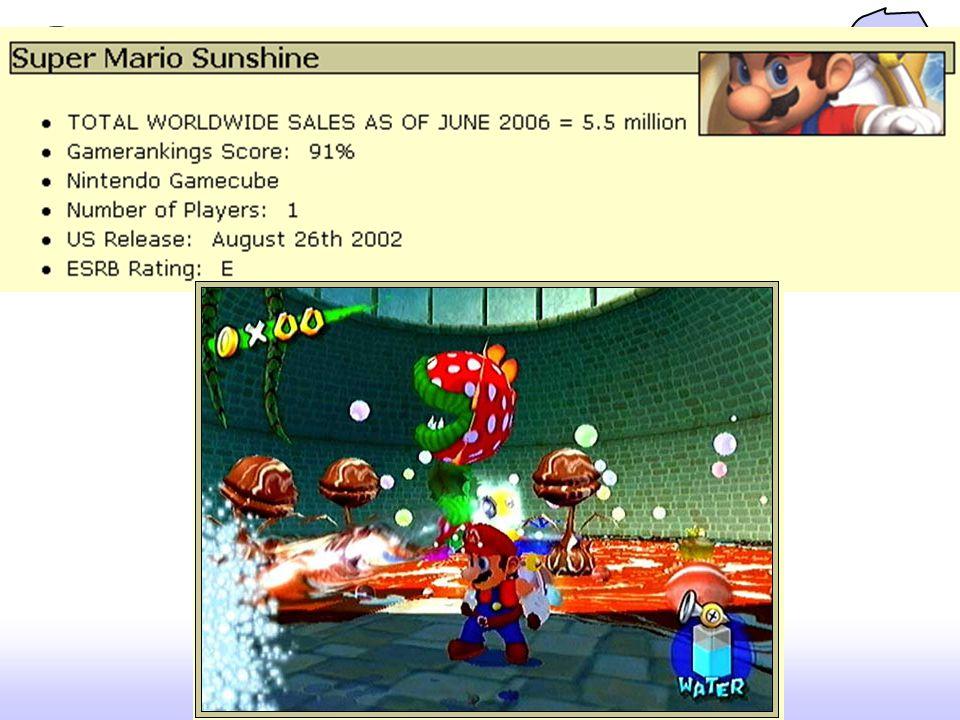 VISUALS : Criticize Screen Space: เป็นประเด็นสำคัญซึ่งแสดงว่าตัวละครจะ มองดูได้ดีขนาดไหน ส่วนใหญ่อยู่ประมาณ 1/5 1/6 ของ ฉาก – ใน Super Mario Sunshine 1/13 เมื่อ zoom-out และ 1/5 เมื่อ zoom-in On-Screen Decor: การแสดงภาพฉากหลัง มีผลเมื่อบาง คนมองเกมจากระยะไกล แปลกที่เกมขายดีทั้งหมด ไม่ค่อย มีฉากที่มีสีสันสวยงาม ส่วนใหญ่จะเป็นสีเดียว – อาจจะเป็น ที่ technology 8-bit – หรือเป็นที่ต้องการให้มีความ แตกต่างระหว่างพื้นหลังกับอย่างอื่น – เช่น ฉากปราสาทมี อิฐเทา ในขณะที่ลาวามีสีส้มสด