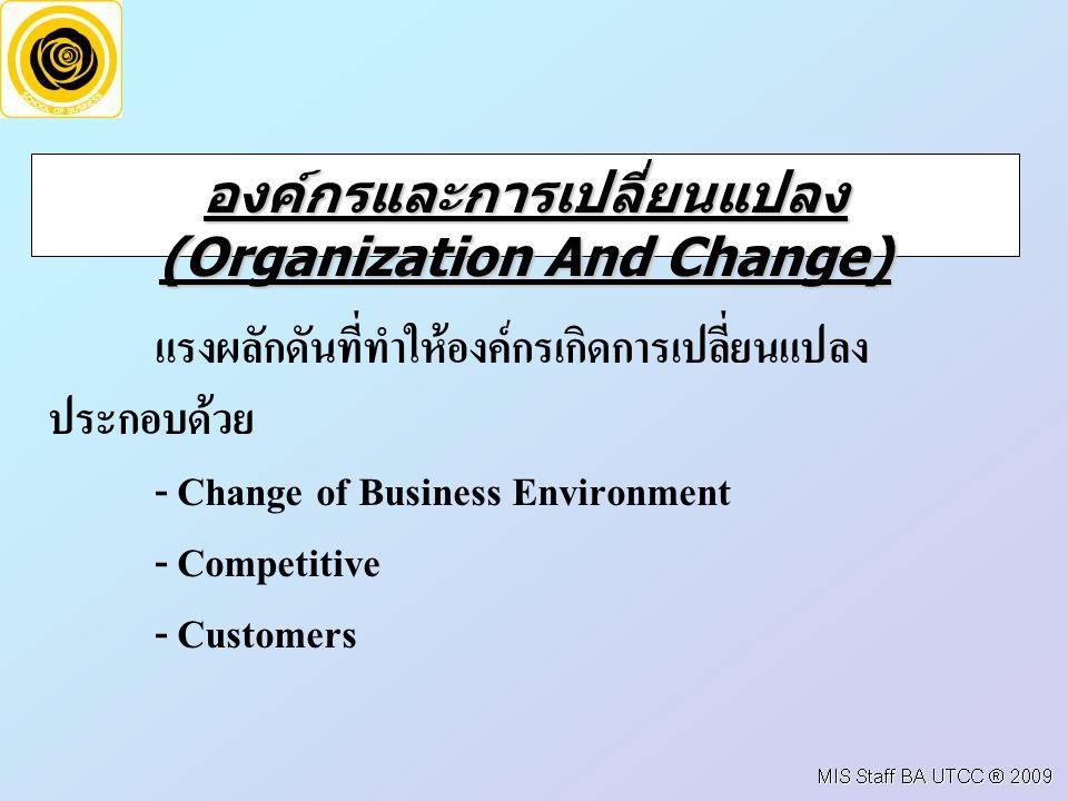 องค์กรและการเปลี่ยนแปลง (Organization And Change) แรงผลักดันที่ทำให้องค์กรเกิดการเปลี่ยนแปลง ประกอบด้วย - Change of Business Environment - Competitive - Customers