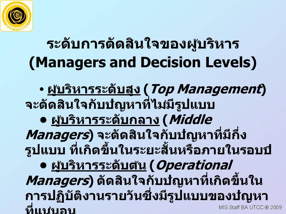 ระดับการตัดสินใจของผูบริหาร (Managers and Decision Levels) ผูบริหารระดับสูง (Top Management) จะตัดสินใจกับปญหาที่ไมมีรูปแบบ ผูบริหารระดับกลาง (Middle Managers) จะตัดสินใจกับปญหาที่มีกึ่ง รูปแบบ ที่เกิดขึ้นในระยะสั้นหรือภายในรอบป ผูบริหารระดับตน (Operational Managers) ตัดสินใจกับปญหาที่เกิดขึ้นใน การปฏิบัติงานรายวันซึ่งมีรูปแบบของปญหา ที่แนนอน ผู้ปฏิบัติงาน ใช้เป็นแนวทางในการปฏิบัติและ แก้ไขปัญหาที่เกิดขึ้นบ่อยๆ