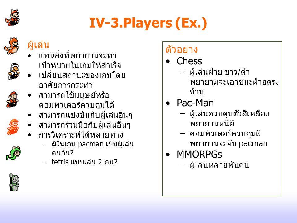 IV-3.Players (Ex.) ผู้เล่น แทนสิ่งที่พยายามจะทำ เป้าหมายในเกมให้สำเร็จ เปลี่ยนสถานะของเกมโดย อาศัยการกระทำ สามารถใช้มนุษย์หรือ คอมพิวเตอร์ควบคุมได้ สา
