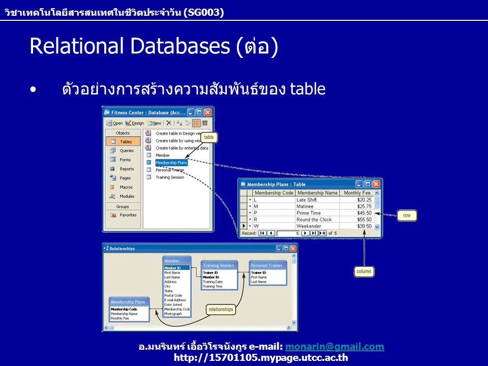 วิชาเทคโนโลยีสารสนเทศในชีวิตประจำวัน (SG003) อ.มนรินทร์ เอื้อวิโรจนังกูร e-mail: monarin@gmail.commonarin@gmail.com http://15701105.mypage.utcc.ac.th Relational Databases (ต่อ) ตัวอย่างการสร้างความสัมพันธ์ของ table