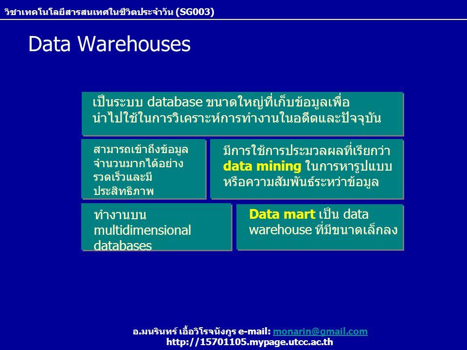 วิชาเทคโนโลยีสารสนเทศในชีวิตประจำวัน (SG003) อ.มนรินทร์ เอื้อวิโรจนังกูร e-mail: monarin@gmail.commonarin@gmail.com http://15701105.mypage.utcc.ac.th Data Warehouses Data mart เป็น data warehouse ที่มีขนาดเล็กลง ทำงานบน multidimensional databases มีการใช้การประมวลผลที่เรียกว่า data mining ในการหารูปแบบ หรือความสัมพันธ์ระหว่าข้อมูล เป็นระบบ database ขนาดใหญ่ที่เก็บข้อมูลเพื่อ นำไปใช้ในการวิเคราะห์การทำงานในอดีตและปัจจุบัน สามารถเข้าถึงข้อมูล จำนวนมากได้อย่าง รวดเร็วและมี ประสิทธิภาพ