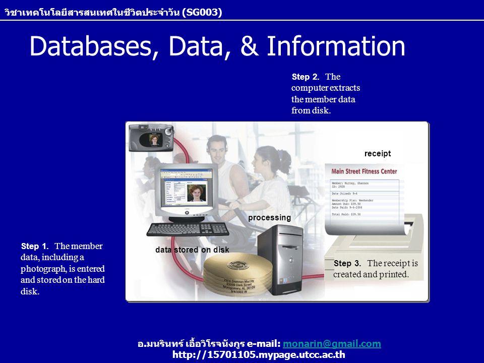 วิชาเทคโนโลยีสารสนเทศในชีวิตประจำวัน (SG003) อ.มนรินทร์ เอื้อวิโรจนังกูร e-mail: monarin@gmail.commonarin@gmail.com http://15701105.mypage.utcc.ac.th ข้อดีของการจัดเก็บข้อมูลแบบ database Reduce Data Redundancy –ลดความซ้ำซ้อนของข้อมูล โดยแทนที่แต่ละแผนกใน หน่วยงานจะเก็บข้อมูลแยกกัน ก็สามารถเก็บข้อมูลลงที่ ฐานข้อมูลกลางได้ Improved Data Integrity –เพิ่มความครบถ้วนถูกต้องให้กับข้อมูล โดยการแก้ไข ข้อมูลใดๆ นั้นสามารถทำกับฐานข้อมูลกลางครั้งเดี่ยว และแต่ละหน่วยงานก็จะรับรู้ถึงการเปลี่ยนแปลงข้อมูลนี้ เหมือนๆกัน Shared Data –ทุกหน่วยงานสามารถเข้าถึงข้อมูลของหน่วยงานอื่นๆ ได้