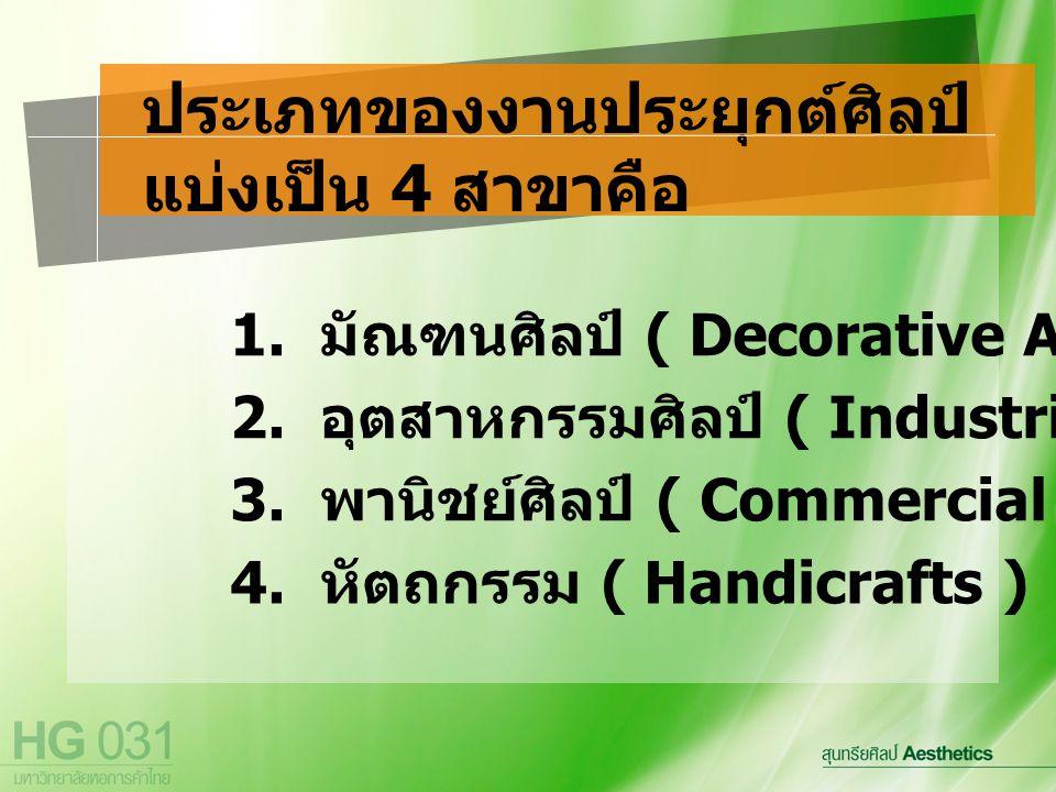 ประเภทของงานประยุกต์ศิลป์ แบ่งเป็น 4 สาขาคือ 1. มัณฑนศิลป์ ( Decorative Arts ) 2. อุตสาหกรรมศิลป์ ( Industrial Arts ) 3. พานิชย์ศิลป์ ( Commercial Art