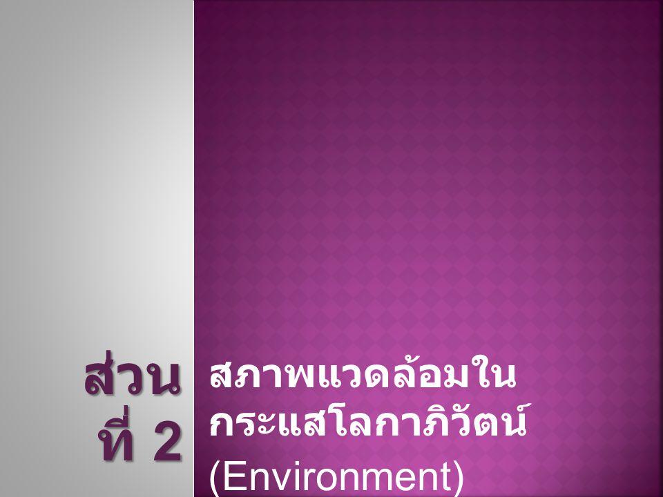 สภาพแวดล้อมใน กระแสโลกาภิวัตน์ (Environment) ส่วน ที่ 2