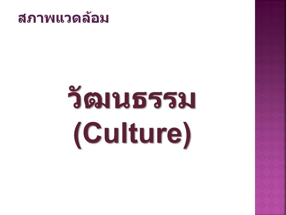 วัฒนธรรม (Culture) สภาพแวดล้อม