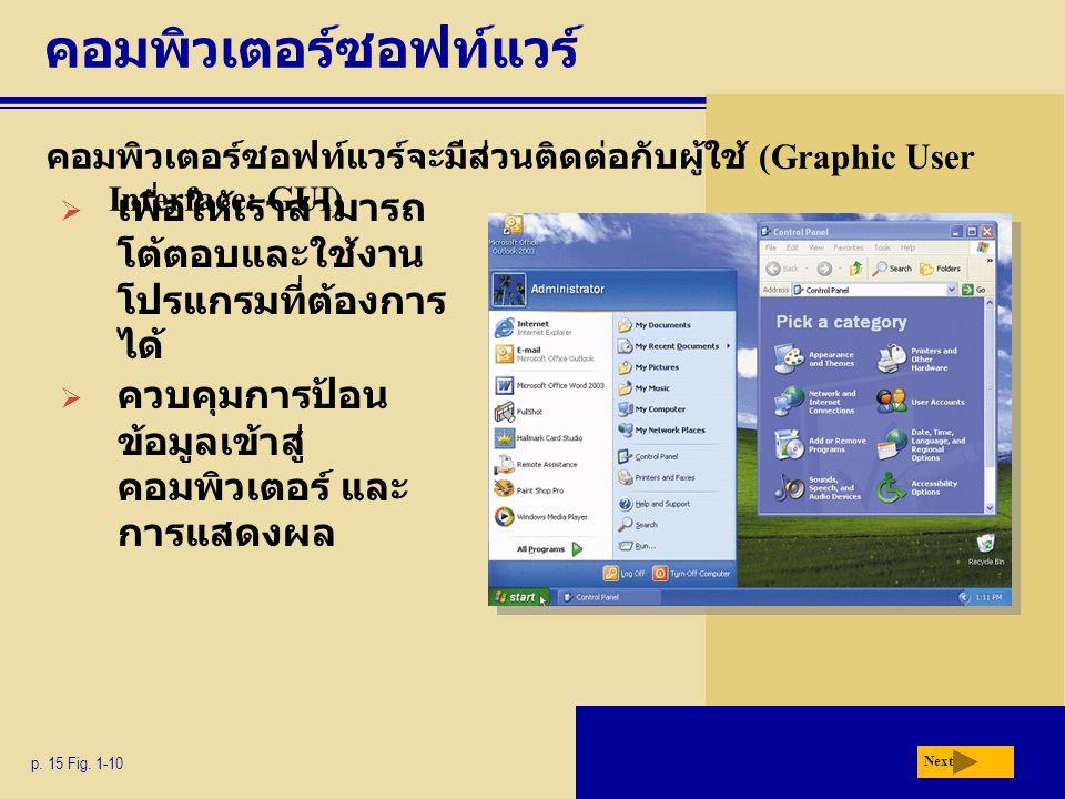 คอมพิวเตอร์ซอฟท์แวร์ คอมพิวเตอร์ซอฟท์แวร์จะมีส่วนติดต่อกับผู้ใช้ (Graphic User Interface: GUI) p. 15 Fig. 1-10 Next  เพื่อให้เราสามารถ โต้ตอบและใช้งา