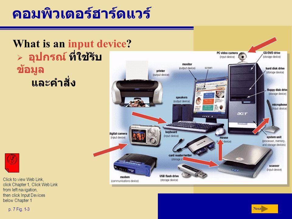คอมพิวเตอร์ฮาร์ดแวร์ What is an input device? p. 7 Fig. 1-3  อุปกรณ์ ที่ใช้รับ ข้อมูล และคำสั่ง Next Click to view Web Link, click Chapter 1, Click W