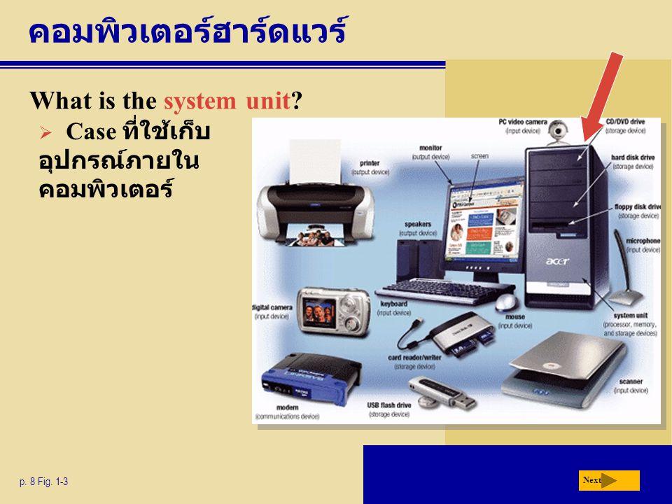 คอมพิวเตอร์ฮาร์ดแวร์ What is the system unit? p. 8 Fig. 1-3 Next  Case ที่ใช้เก็บ อุปกรณ์ภายใน คอมพิวเตอร์