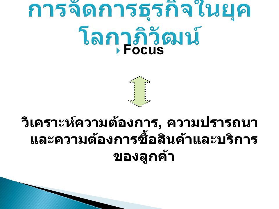  Focus วิเคราะห์ความต้องการ, ความปรารถนา และความต้องการซื้อสินค้าและบริการ ของลูกค้า