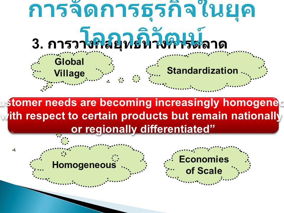 """3. การวางกลยุทธ์ทางการตลาด Global Village Standardization Homogeneous Economies of Scale """"Customer needs are becoming increasingly homogeneous with re"""