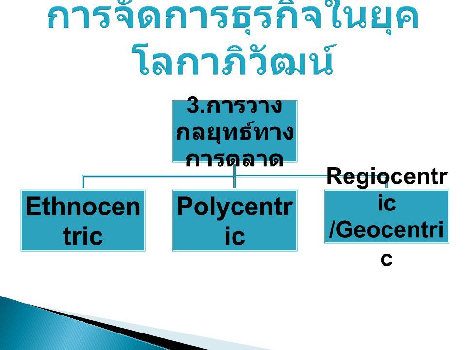 3. การวาง กลยุทธ์ทาง การตลาด Ethnocen tric Polycentr ic Regiocentr ic /Geocentri c