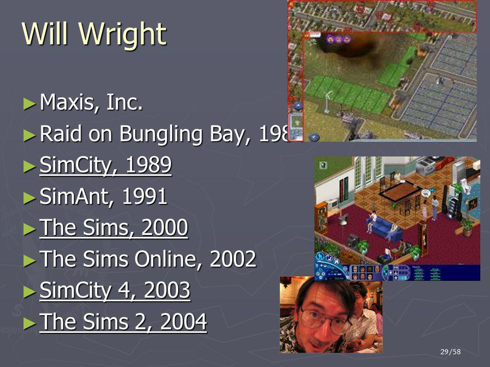 29/58 Will Wright ► Maxis, Inc.