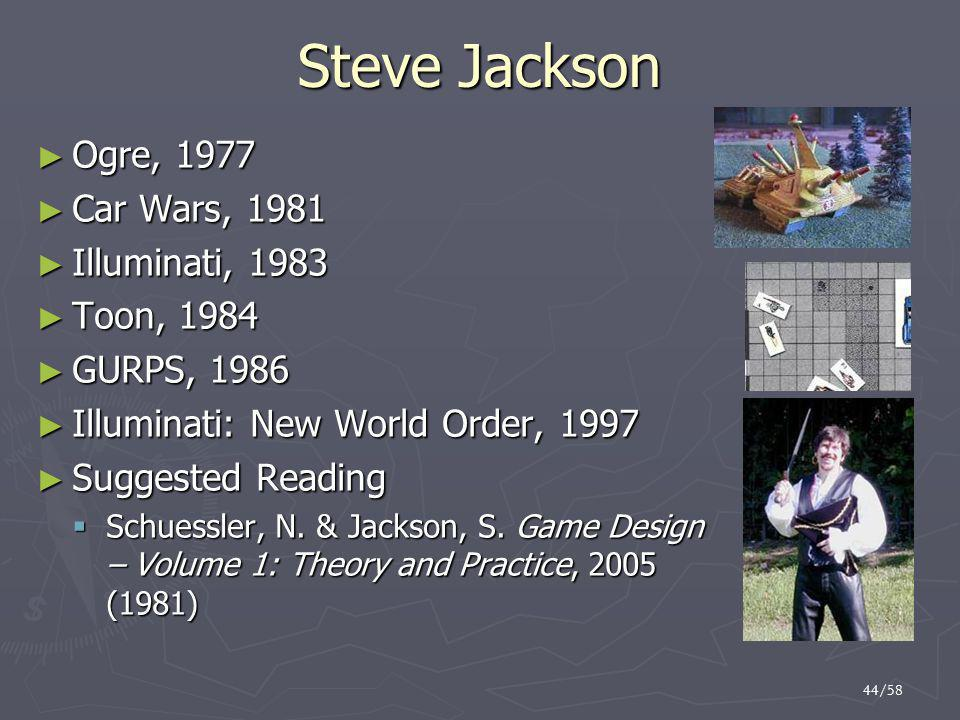 44/58 Steve Jackson ► Ogre, 1977 ► Car Wars, 1981 ► Illuminati, 1983 ► Toon, 1984 ► GURPS, 1986 ► Illuminati: New World Order, 1997 ► Suggested Reading  Schuessler, N.