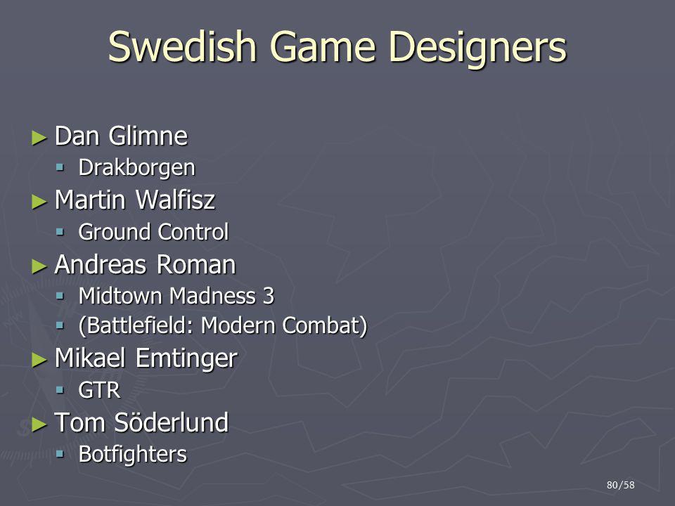 80/58 Swedish Game Designers ► Dan Glimne  Drakborgen ► Martin Walfisz  Ground Control ► Andreas Roman  Midtown Madness 3  (Battlefield: Modern Co