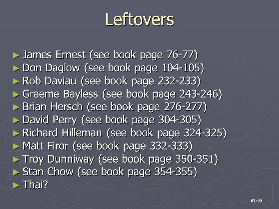 81/58 Leftovers ► James Ernest (see book page 76-77) ► Don Daglow (see book page 104-105) ► Rob Daviau (see book page 232-233) ► Graeme Bayless (see b
