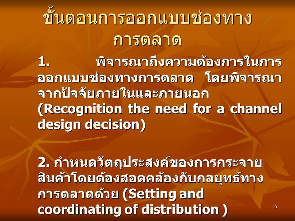 5 ขั้นตอนการออกแบบช่องทาง การตลาด 1. พิจารณาถึงความต้องการในการ ออกแบบช่องทางการตลาด โดยพิจารณา จากปัจจัยภายในและภายนอก (Recognition the need for a ch