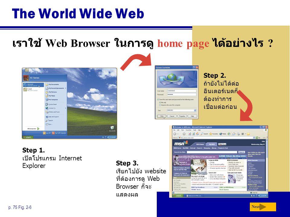 The World Wide Web เราใช้ Web Browser ในการดู home page ได้อย่างไร ? p. 75 Fig. 2-6 Step 2. ถ้ายังไม่ได้ต่อ อินเตอร์เนตก็ ต้องทำการ เชื่อมต่อก่อน Step