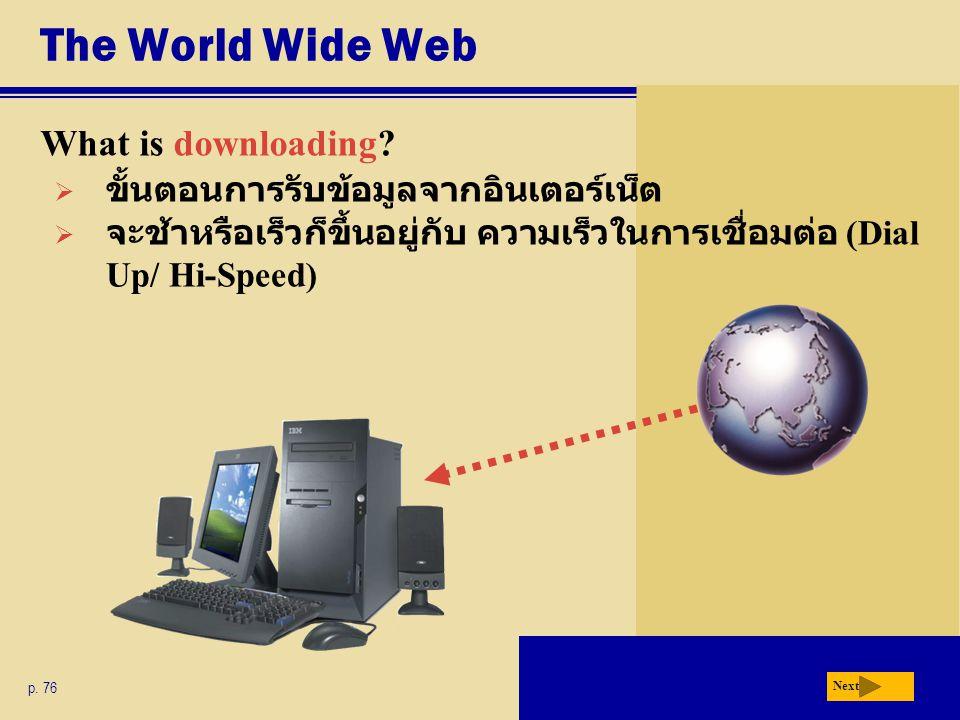 The World Wide Web What is downloading? p. 76 Next  ขั้นตอนการรับข้อมูลจากอินเตอร์เน็ต  จะช้าหรือเร็วก็ขึ้นอยู่กับ ความเร็วในการเชื่อมต่อ (Dial Up/