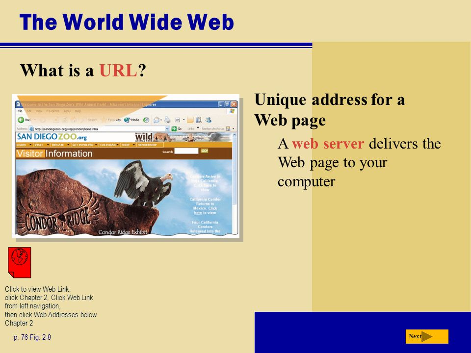 The World Wide Web What is a URL? p. 76 Fig. 2-8 Next Unique address for a Web page A web server delivers the Web page to your computer Click to view