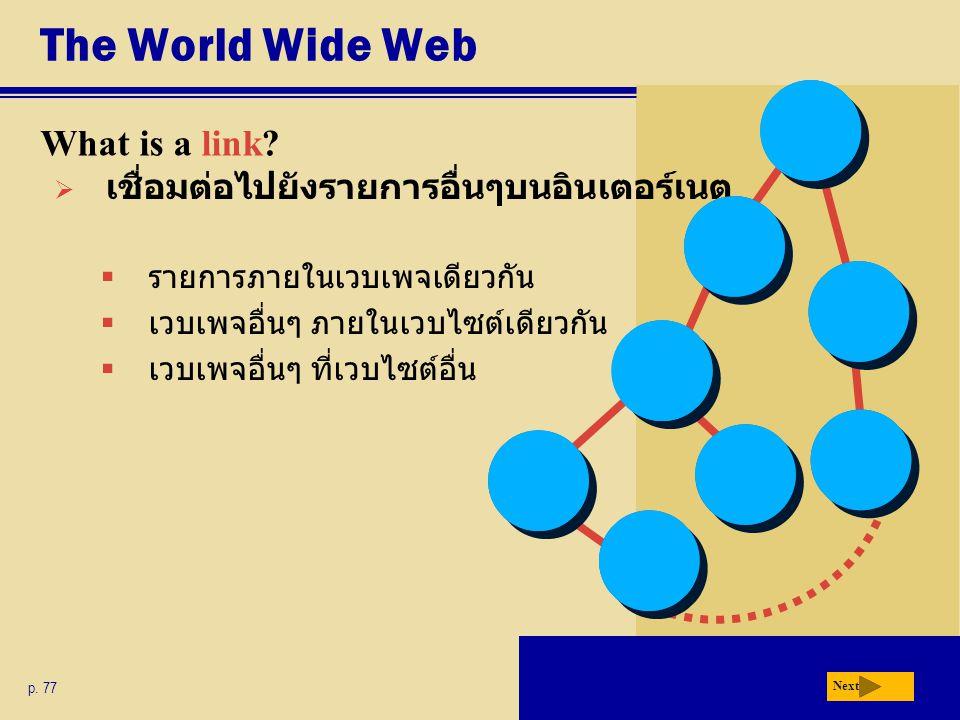 The World Wide Web What is a link? p. 77 Next  รายการภายในเวบเพจเดียวกัน  เวบเพจอื่นๆ ภายในเวบไซต์เดียวกัน  เวบเพจอื่นๆ ที่เวบไซต์อื่น  เชื่อมต่อไ