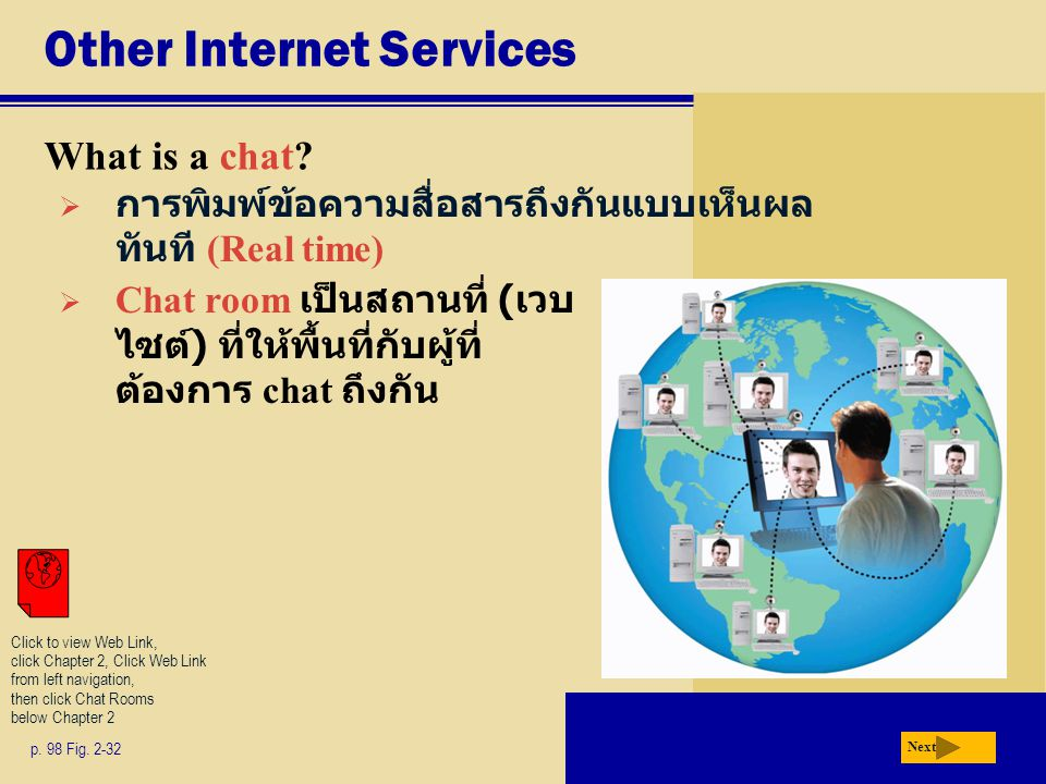 Other Internet Services What is a chat? p. 98 Fig. 2-32 Next  การพิมพ์ข้อความสื่อสารถึงกันแบบเห็นผล ทันที (Real time)  Chat room เป็นสถานที่ ( เวบ ไ