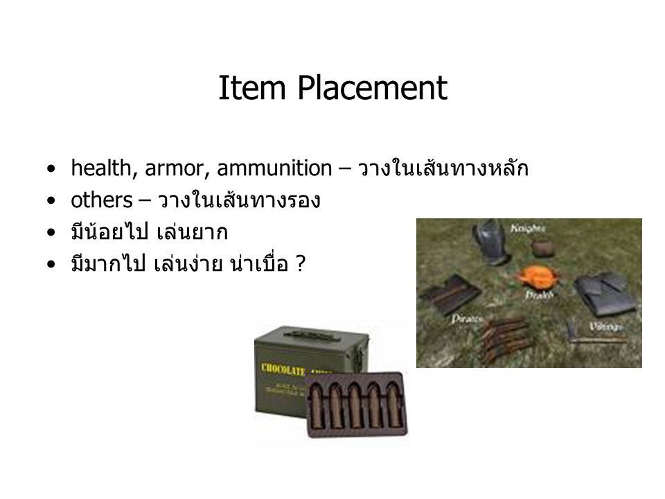 Item Placement health, armor, ammunition – วางในเส้นทางหลัก others – วางในเส้นทางรอง มีน้อยไป เล่นยาก มีมากไป เล่นง่าย น่าเบื่อ ?