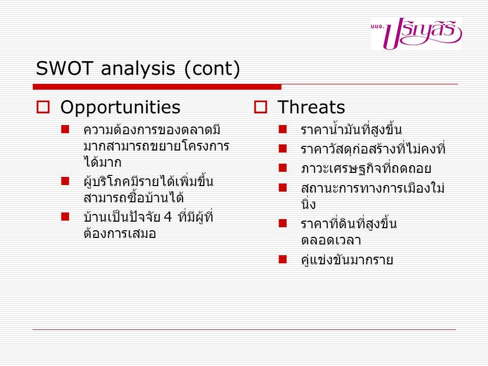 SWOT analysis (cont)  Opportunities ความต้องการของตลาดมี มากสามารถขยายโครงการ ได้มาก ผู้บริโภคมีรายได้เพิ่มขึ้น สามารถซื้อบ้านได้ บ้านเป็นปัจจัย 4 ที