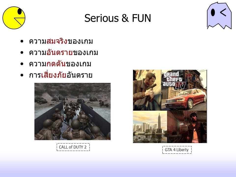 Serious & FUN ความสมจริงของเกม ความอันตรายของเกม ความกดดันของเกม การเสี่ยงภัยอันตราย CALL of DUTY 2 GTA 4 Liberty