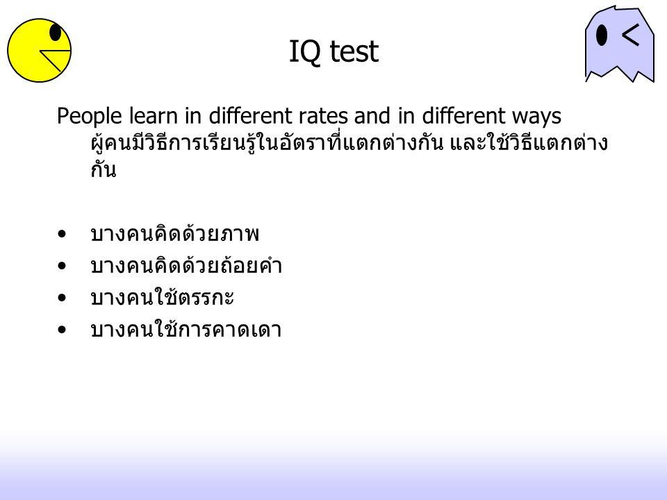 IQ test People learn in different rates and in different ways ผู้คนมีวิธีการเรียนรู้ในอัตราที่แตกต่างกัน และใช้วิธีแตกต่าง กัน บางคนคิดด้วยภาพ บางคนคิ