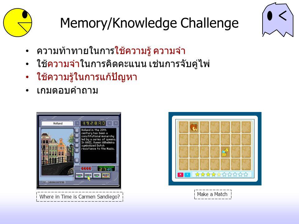 Memory/Knowledge Challenge ความท้าทายในการใช้ความรู้ ความจำ ใช้ความจำในการคิดคะแนน เช่นการจับคู่ไพ่ ใช้ความรู้ในการแก้ปัญหา เกมตอบคำถาม Where in Time