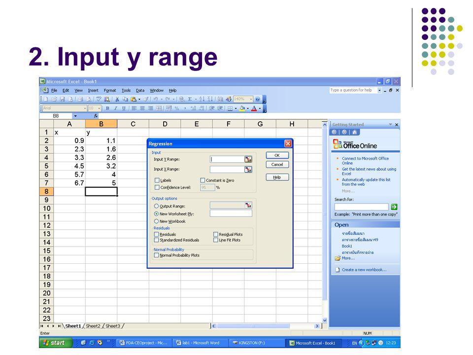2. Input y range