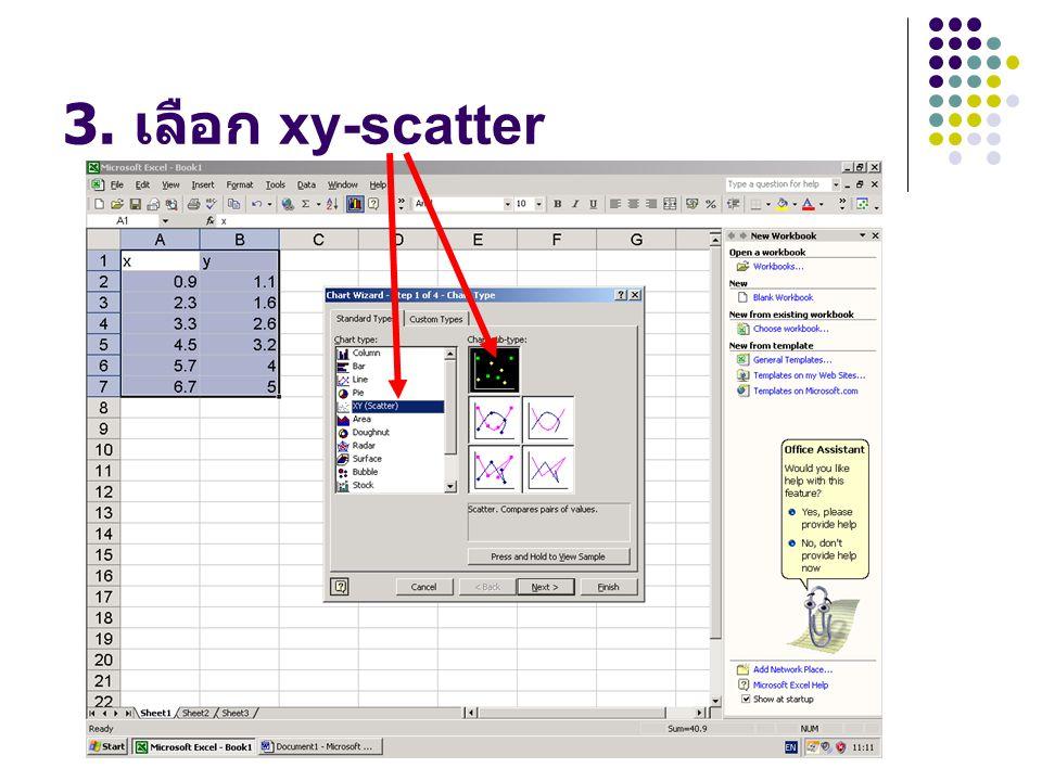 3. เลือก xy-scatter