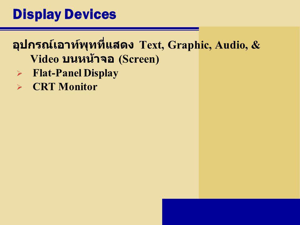 Display Devices อุปกรณ์เอาท์พุทที่แสดง Text, Graphic, Audio, & Video บนหน้าจอ (Screen)  Flat-Panel Display  CRT Monitor