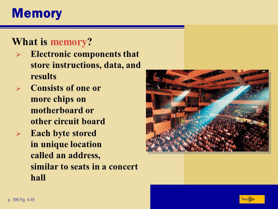 Memory What is memory.p. 196 Fig.